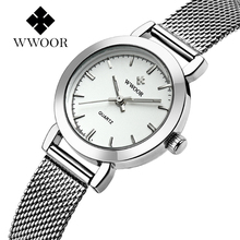 WWOOR Women's Watch Ultra Thin Stainless Steel Quartz Watch Lady Casual Hours Bracelet Watches Women Lover's Female Clock Gift(China)