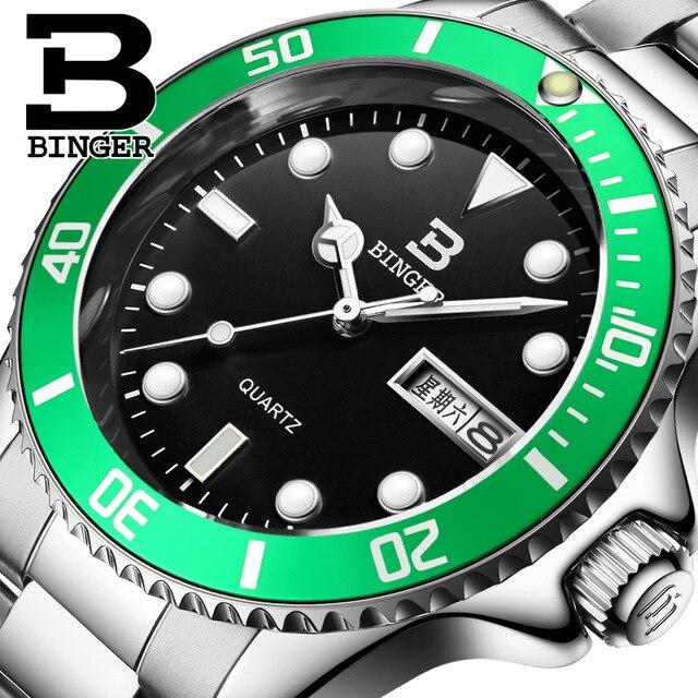 Switzerland Binger fashion Dive watch man casual luminous brand quartz watches mens wrist watch men Luxury hour for male<br>