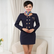 Air Stewardess Uniform Suits Dance Costume Honor Guard Snare Under Red Big Yards Fight Attendant Costume(China)