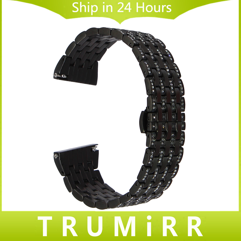 20mm Crystal Diamond Watch Band for Garmin Vivomove Bradley Timepiece Withings Steel HR 40mm Quick Release Steel Wrist Strap<br>
