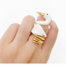 YYW 2017 White Swan Charm rings for women anillos mujer New design enamel white swan ring opening fashion ring 1 set