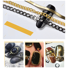 MIOBLET 50CM Flat Shape Metal Nail Chain Gold Black Decorations Snake Chain Bone DIY 3D Vintage Nail Art Rhinestones Accessories(China)