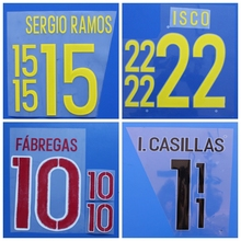 New Spain MORATA SILVA PIQUE A.INIESTA SERGIO RAMOS ISCO football number name font print, Hot stamping Soccer patches badges