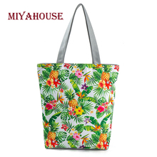 Miyahouse Unique Design Female Beach Bags Pineapple Printed Canvas Tote Women Single Shopping Handbags High Capacity Floral Tote(China)