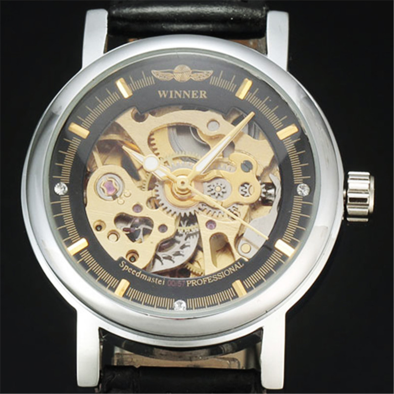 2017 Winner Hollow Mechanical Automatic Women Watches Classic Carving Skeleton Gold Dial Genuine Leather Strap Lady Wrist Watch<br><br>Aliexpress