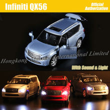 1:32 Scale Diecast Alloy Metal Luxury SUV Car Model For Infiniti QX56 Collectible Model Collection Toys Car With Sound Light(China)