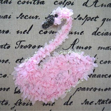 Sequins patch DIY Pink chiffon swan patches for clothes Sew-on embroidered patch motif applique deal with it free shipping(China)