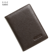 Brown Real Cowhide Genuine Leather Passport Cover Holder Porta Pasaporte Postcards Passport Case Travel Card Wallet Car Covers(China)