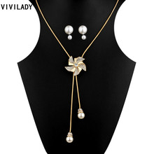 VIVILADY Fashion Lovely Rhinestone Imitation Pearls windmill Metal Chain Jewelry Sets Women Long Tassels Necklaces Earrings Gift(China)