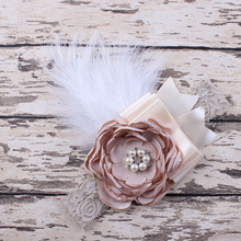 2016 baby Bow lace flower Rhinestone headband  Girls Feather fabric flowers for headbands Children girls hair accessories