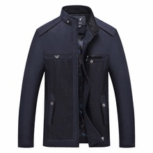 Spring Autumn Jackets Men 2018 Business Casual Solid Male Middle Aged Stand Collar Thin Navy Blue Outwear Varsity Coat W46(China)