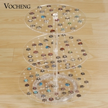 Vocheng Transparent Three Layers Detachable Round Acrylic Displays Stand for Snap Charms NN-476 Free Shipping