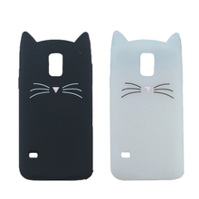 3D Cute Japan Glitter Bearded Cat Case For Samsung Galaxy S5 Neo G903W S5 Plus G901F G900H Cover Silicone Mobile Phone Bags