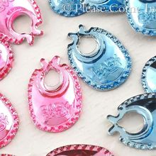 Free Shipping New !! 100pcs/lot 18MM Baby Bib Acrylic Rhinestones For Boys & Girls Baby Shower Party Table Scatter Decoration(China)