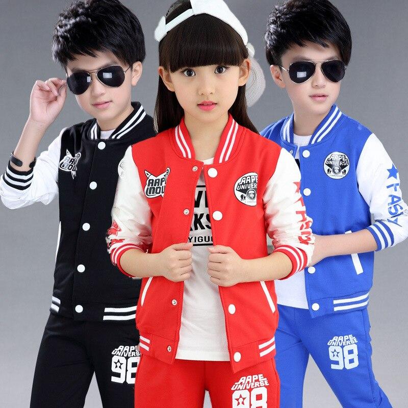 4-15Years Boys Girls Baseball Sweatshirt Brand Autumn Children Sets Warm Soft Kids Boys Girls Sport Coats+Pants Toddler Jacket<br><br>Aliexpress