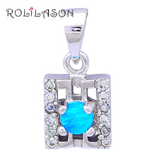 Designers Cost prices Lovely Free Top quality Blue Fire Opal stamped Silver Stamped Pendants Fashion jewelry OP324(China)