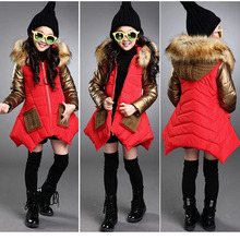 2017 New Children Outerwear Cotton Winter Hooded Coats Jacket Kids Coat Black Red and Gold Teenager Girls Clothing Thick(China)