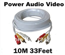 10M 33Feet RCA Power Audio Video AV DC Cable For CCTV Security Camera DVR Free Shipping