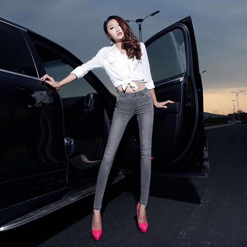 High grade women jeans 2017 occident fashion vintage low waist zippers bleached light gray skinny pencil cowboy denim pants D100Одежда и ак�е��уары<br><br><br>Aliexpress
