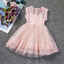Pink Kids Baby Girls Party Dresses Lace Princess Dress For Baptism Wedding Children Clothing Girl Tulle Tutu Dress 2-6 Years(China)