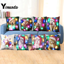 Yinuoda Merry Christmas Cushion Cover with LED Lights Home Sofa Decoration Cats Dog with Xmas Hat Throw Pillow Case Cover