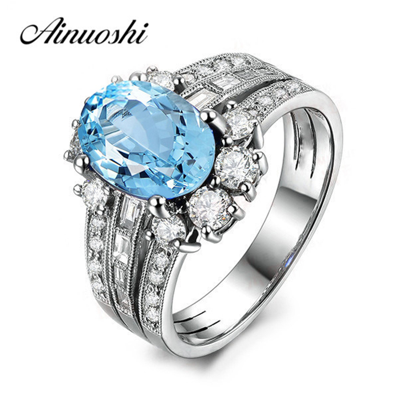 AINUOSHI 2 Carat Oval Natural Topaz Halo Ring Oval Cut Natural Blue Topaz Rows Ring Pure 925 Sterling Silver Female Jewelry Ring