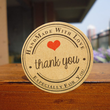 "600pcs New Retro Kawaii HANDMADE ""Thank you""Round Kraft Seal sticker For handmade products/Vintage ""Handmade with Love""lable(China)"