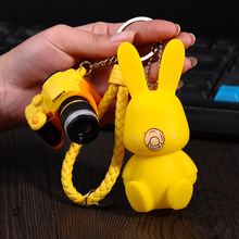 2017 Fashion New Cartoon Creative Cute Leather Bunny Keychain Rabbit Bells LED Camera Pendant Key Chain Backpack Keyring