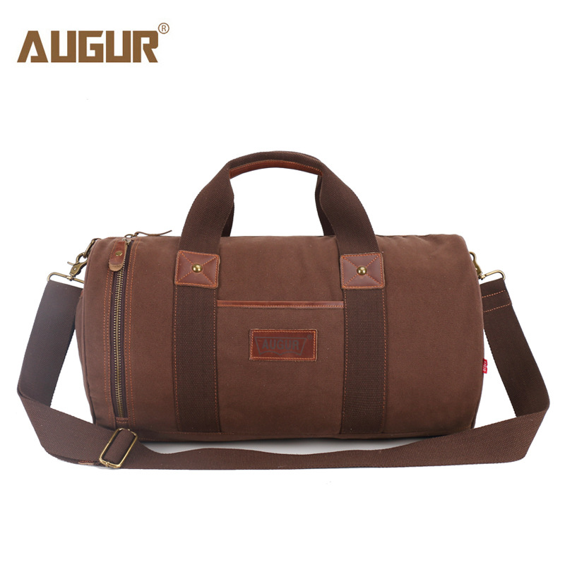 AUGUR Unisex Big Canvas Travel Bag Male Casual Luggage Bags Large Thicken Canvas Tote Cylindrical Shoulder Bags 48*19*26cm<br>