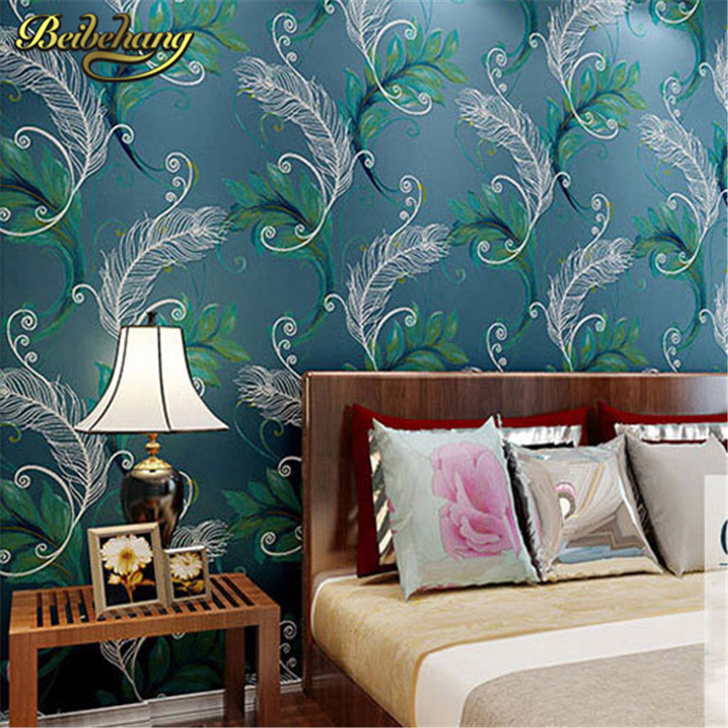 beibehang papel parede Luxury Peacock Feathers Wall Paper roll 3D Wallpaper Roll Decor Mural Creative Papier Peint Abstract Wall<br>