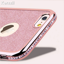Kerzzil Diamond Case + Bling Shining Card Cover For iPhone 7 6 6S Plus 5s SE Rhinestone Soft Phone Back For iPhone 6 7 6S 5S(China)
