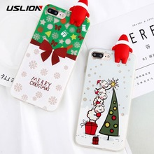 USLION 3D Santa Claus Phone Case For iPhone 6 6s Plus Cartoon Christmas Tree Sock Back Cover Soft TPU Cases For iPhone 6S Coque
