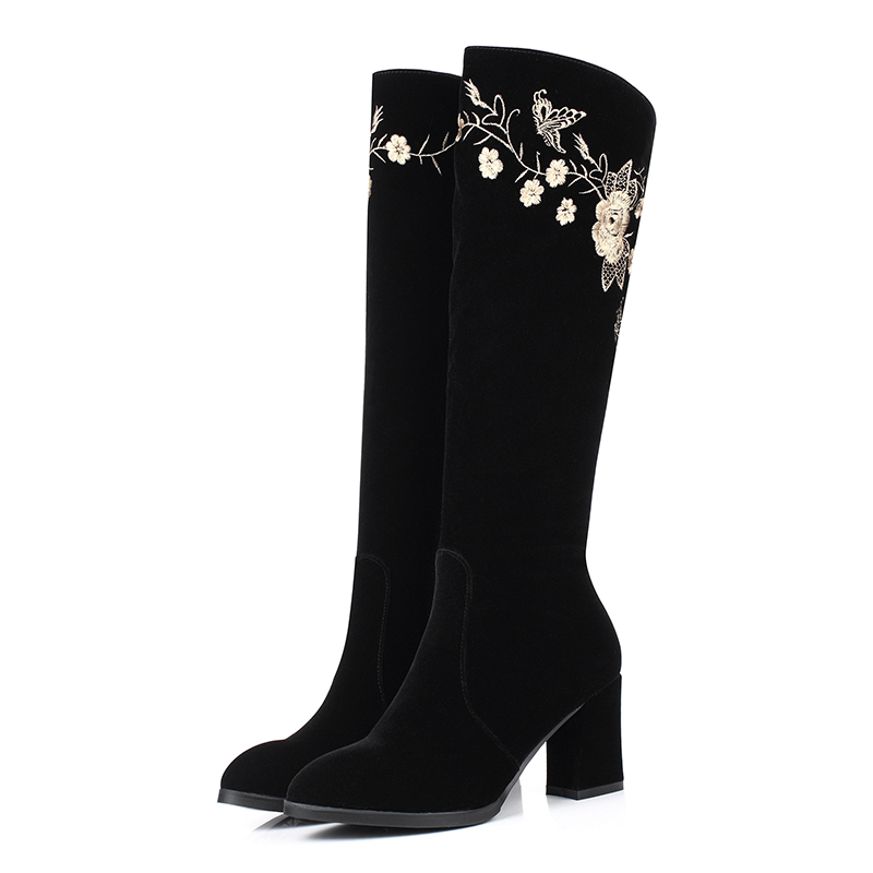 Chinese Ethnic style comfortable autumn knee high boots fashion embroidery flower zipper black high-heeled womens riding boots<br>