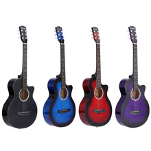 "High Quality 38"" Guitar Guitarra 38"" Acoustic Folk Guitar Durbale 6-String Basswood Guitar Black Blue Red Purple for Option"