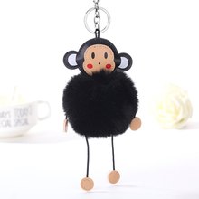 Buy 2017 Creative Fur PomPom Keychain Monkey Key Chain Pompom Fur Key Holder Cover Women Bag Charm Pendant Accessorie Christmas Gift for $1.39 in AliExpress store