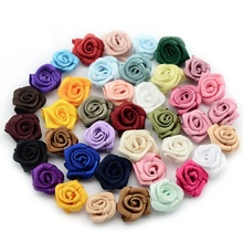 480 pcs/lot 15mm Satin Rose Ribbon Rosettes Fabric Flower DIY Handmade Wedding Decoration Appliques Craft Sewing Accessories