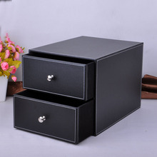 2- layer double drawer wood structure leather desk filing cabinet storage box office organizer document container blackPWJG005
