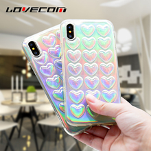 LOVECOM For iPhone X 10 Case 3D Hearts Colorful Holographic Transparent Soft TPU Mobile Phone Cases Cover Coque with Stripe Bags(China)