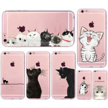 Cute Cat Case Cover For Apple iPhone 6 6s 7 Plus 6sPlus 6Plus 4 4s 5 5s SE Transparent Soft Silicone Cell Phone Bag Capa Cases