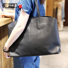 AETOO Handmade leather bag leather minimalist retro casual portable large capacity cross section tote bag shoulder bag boy(China)
