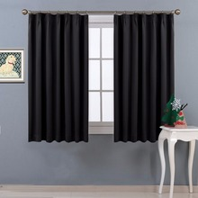NICETOWN ready made solid color Thermal Insulated blackout curtains with adjustable hook for Living Room 2 Panels