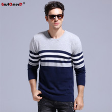 GustOmerD 2017 Classic Strip 100% Cotton Sweater Men O-neck Slim Fit Knitting Pullover Men Casual Mens Sweaters And Pullovers(China)