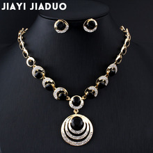 jiayijiaduo Fashion Wedding jewelry set gold-color women Round Pendant Necklace Earrings black dress accessories Drop shipping(China)