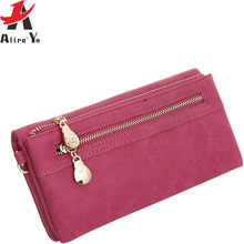 ATTRA-YO 2017 Women Wallets Long Dull Polish Leather Wallet high quality dollar price Female Zipper Clutch Coin Purse