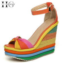 HEE GRAND Platform Sandal Summer Ladies Shoes Bohemia Rainbow Thick Sole Sponge High Heel Wedge Open Toe Women Sandals XWZ1056