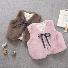 2016 autumn spring vest kids girl faux fur  thickening bow waistocat pink coffee solid cute baby vest children clothing 2-6T