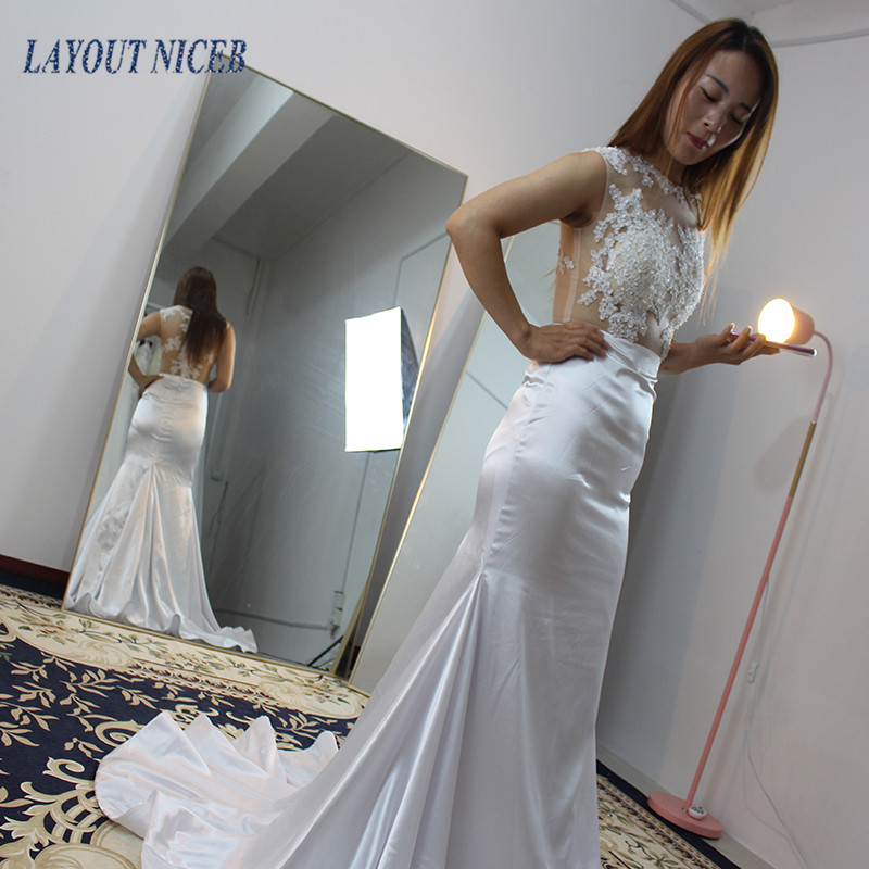 WY23 Luxury Vestido de Noiva Mermaid Backless Wedding Dresses Lace Custom Bridal Gowns with Robe De Mariage Wedding Gowns