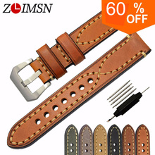 ZLIMSN Genuine Leather Watchbands Men Women Italy Watch Band Strap for Panerai Belt Stainless Steel Buckle 20 22 24 26mm relogio(China)