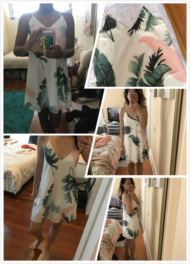 Sheinside White Cami Summer Dress Women Palm Leaf Print Double V Neck Casual Shift Dresses 17 Fashion Sexy Sleeveless Dress 8
