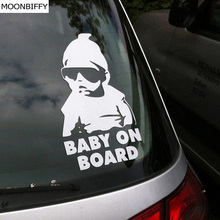 MOONBIFFY Fashion Lovely Baby On Board Warning Decal Reflective Waterproof Car Window Vinyl Stickers Color Black White